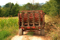 Agricultural machine on rural road