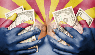 Sweaty girl covered her breast with money, flag of Arizona