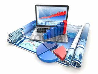 Business analyze. Laptop
