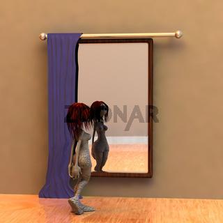 Toonfigur vor einem Spiegel