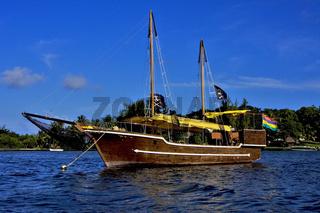 pirate boat  and coastline