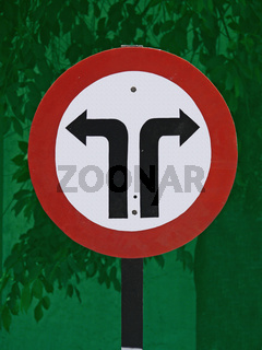 Road signboard showing Left  Right side diversions ahead