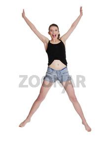 Teen girl jumping for joy