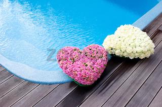 Flower hearts near swimmong pool