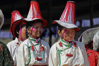 Tibetan performing folk sleeve dance traditional minority at Namdapha Eco Cultural Festival