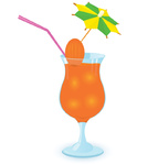 Cocktail decorated with umbrella toothpick Raster illustration
