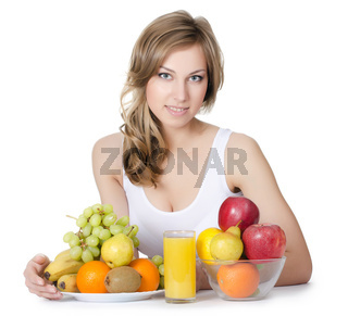 Beautiful girl with fruit and vegetables