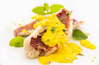 fish fillet with saffron sauce