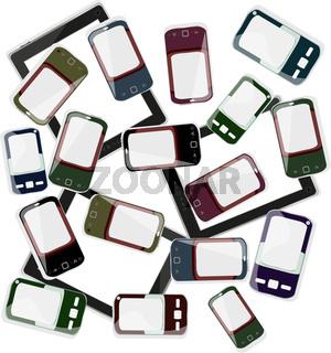 smart phones set on white background