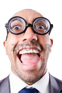 Nerd funny businessman on white