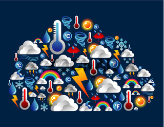 Weather icons set in cloud shape