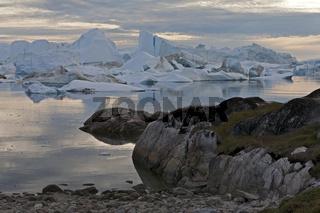 Ilulissat Eisfjord, Grönland, bei Mitternachtssonne