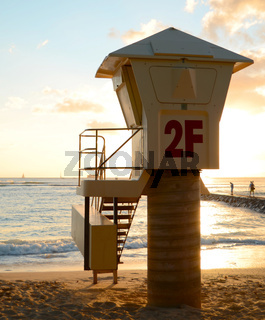 A Lifeguard Station On Waikiki Beach In Hawaii