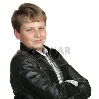 Portrait of the teenager in a leather jacket