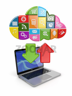 Cloud computing. Laptop and icons software. 3d