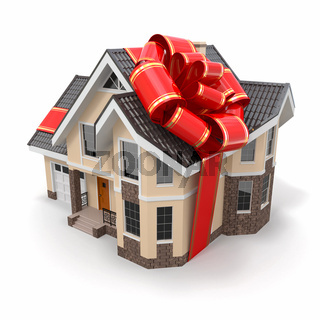 House gift. Mansion with ribbon and bow. 3d