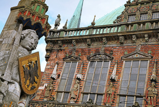 Rolandstatue vor dem Rathaus, Bremen, Germany; statue of the famous Roland, Brmen, Germany