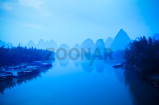 chinese yangshuo in early morning