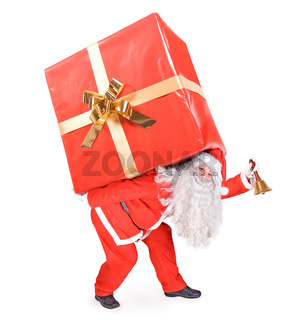Santa Claus carries a big gift