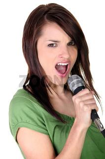 Brunette woman singing