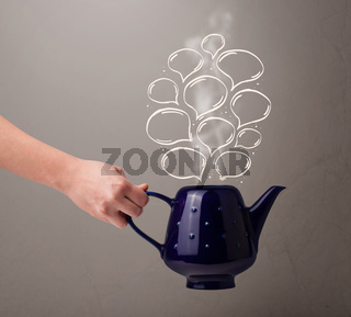 Coffee pot with hand drawn speech bubbles