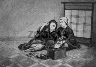 Frauenleben in Japan, Teetrinken, historischer Sti