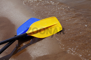Two paddles laying on the wet sand riverbank