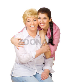 Senior woman with her dauhter isolated