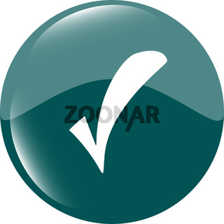 Green glossy web button with check mark sign. Rounded square shape icon