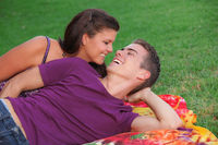 happy healhty young couple outdoors concept for fresh breath