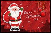 Red horizontal Christmas card with Santa Claus