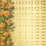 Grunge gold paper for congratulation with painting rose