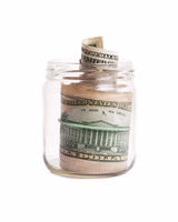 Glass pot with dollars
