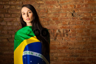woman in the Brazilian flag