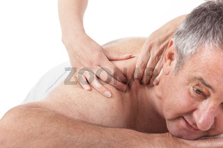 Senior man at the massage