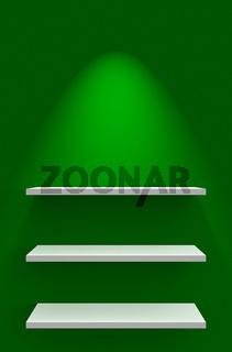 Drei Regale an Wand mit Beleuchtung - Grün Weiß