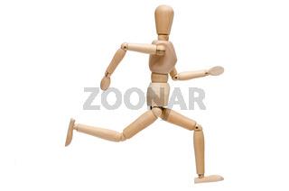 Weiss isolierte Figur aus Holz beim rennen