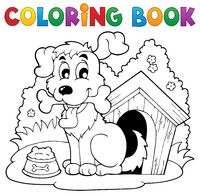 Coloring book dog theme 1 - picture illustration.