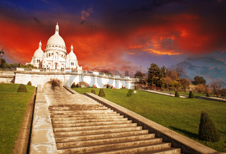Wonderful view of Sacred Heart Cathedral and Steep Stairs - Paris