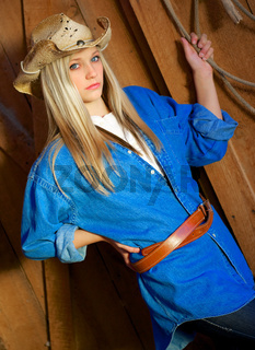 Teen Blond Model with Denim Shirt and Cowboy Hat