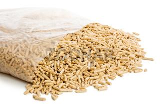 wooden pellets in plastic bag