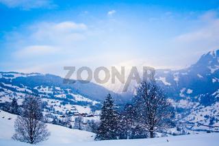Winter landscape. winter mountains landscape. Beautiful winter