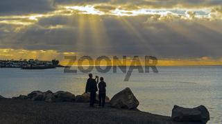 Spain Lanzarote Playa Blanca Sunbeams Through Clouds