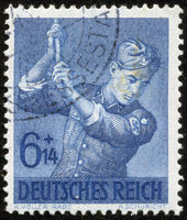 German vintage stamp, macro