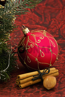 Christmas bauble with decoration as closeup