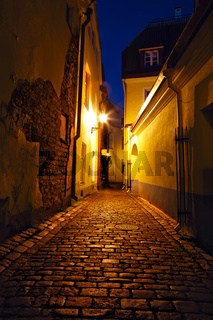 Old European sreet at night