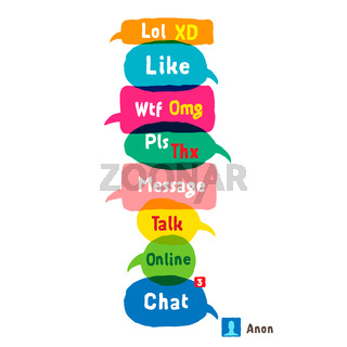 Most common used acronyms and abbreviations on speech bubbles