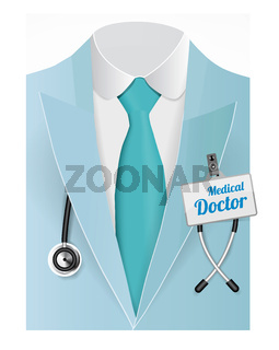Close up of a doctors lab blue coat