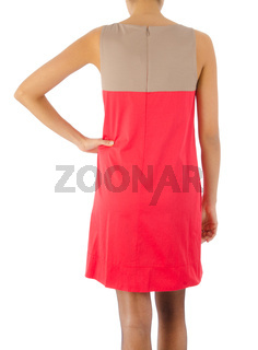 Woman in fashion dress concept on white
