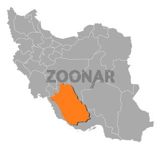 Map of Iran, Fars highlighted